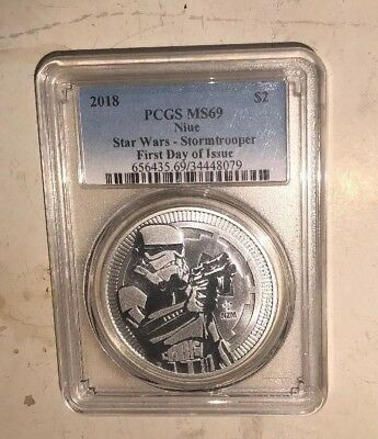 PCGS MS69 2018 Niue STAR WARS STORMTROOPER $2 Silver 1oz - First Day Issue
