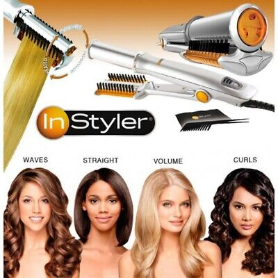 InStyler Rotating Straightening Curling Hot Iron Styler Model IS1001 Silver 3in1