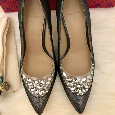 c9b274c6940 Tory Burch Delphine 85mm Women s Pointed Toe High Heel Pumps Size US 10  Pewter