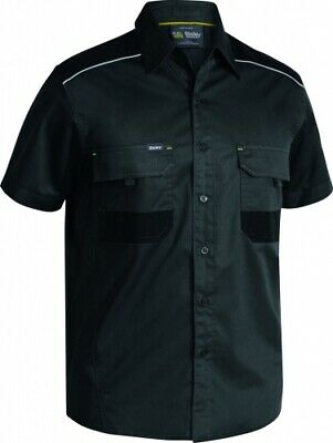 NEW Bisley Shirts  Flex And Move Stretch Short Sleeve Charcoal - 6XL - Safety
