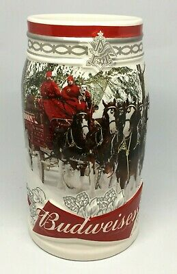 2017 Budweiser Holiday Stein Christmas Beer Mug 38th Annual FACTORY CHIPPED