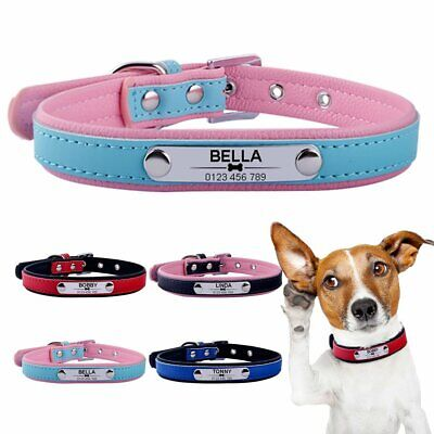 Leather Personalized Dog Collar Custom Engraved Pet Cat Name ID Tag Kitten Puppy