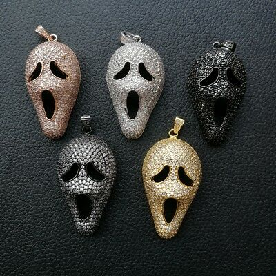 1pc  gold plated Cz micro scream Charm  Pendant  DIY Jewelry Findings