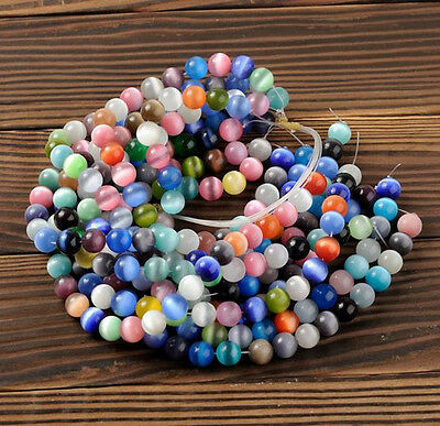 Wholesale Round Mixed Colors Cat's Eye Gemstone Loose Spacer Beads 6-12mm 30pcs