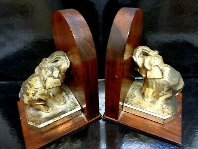 Pair of antique Art-Deco sculptures bookends Angular Spelter Elephants on Wood