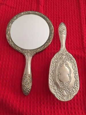 Vintage silver vanity set, mirror and brush, 1950's -1960's, good condition,