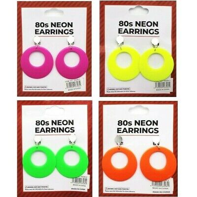 70s 80s Theme Neon Clip On Earrings Costume Disco Dance Skate Party Accessories