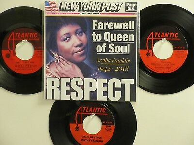 LOT OF 4  ' ARETHA FRANKLIN ' HIT 45's+1P(Copy)[RESPECT]   THE 60's!
