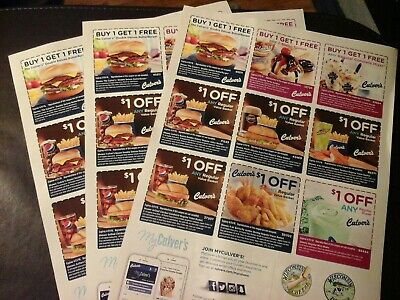 Culver's Coupons  RESTAURANT    3 X  FULL SHEETS     ,ex 04/21/2019