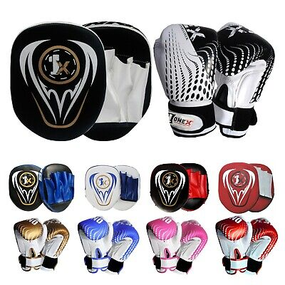 JUNIOR BOXING GLOVES AND FOCUS PADS SET Punch Bag Sparring Kids Training Mitten