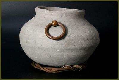 SV18 Japanese Antique Sueki vase kofun period w/Bronze Latch rings #Sanage BC