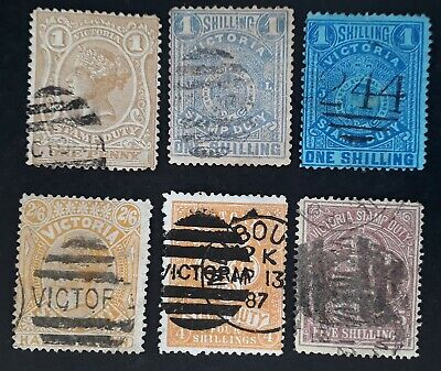 Rare 1884- Victoria Australia lot of 6 x Stamp Duty stamps Used Postally