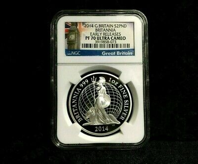 2014 Britannia PF70 UC ER NGC Great Britain 1 oz £2 proof Silver no spot coin