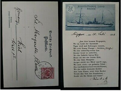 "VERY RARE 1898 Germany Postcard ""Norddeutscher Lloyd Berlin"" with Seepost cancel"