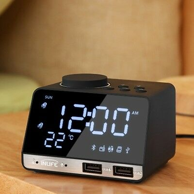 Portable Wireless Bluetooth Speaker Alarm Clock FM Radio Mirror LED 2 USB Ports