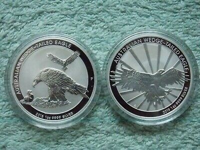 2018- 2019  AUSTRALIAN SILVER Wedge Tailed Eagle BU 1 oz (Set of two coins)