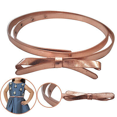 Butterfly Bowknot Buckle Skinny Faux Leather 10mm Waist Belt Kids Girl Daily Out