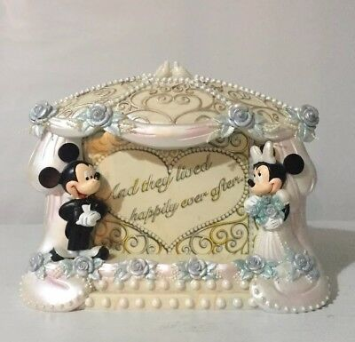MICKEY & MINNIE MOUSE Wedding Photo Frame Gift DISNEY THEME PARKS Official NWOB