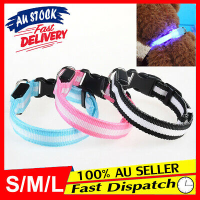 LED 3 Sizes Collar Included Pet Tag Glow Dog Flashing Puppy Battery Light Leash