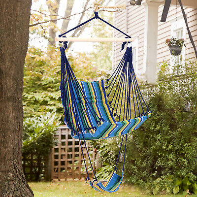 Outsunny Hammock Swing Chair Hanging Rope Striped Seat w/ Foot Rest Indoor