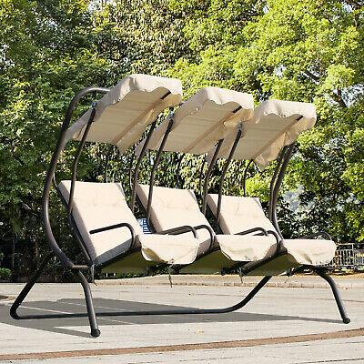 Outsunny 3 Seater Outdoor Swing Chairs Padded Seat W/ Armrest Removable  Canopy