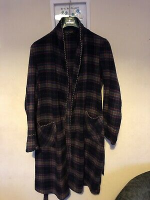 Mcgregor Dressing Gown Vintage 40s Wool Rare Made In Britain Gold Crown Tartan