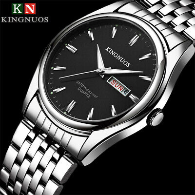 KINGNUOS Fashion Wrist Watch Stainless Steel Date Waterproof Analog Quartz Watch