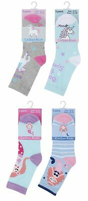 Childrens / Girls 3 Pk Novelty Cotton Rich Socks ~ Unicorns or Mermaids