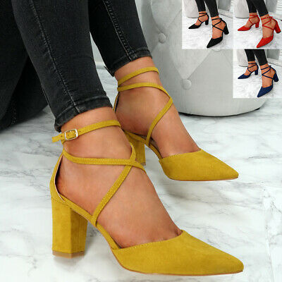 Womens Ladies Pointed Ankle Strap Pumps High Block Heels Party Shoes Size