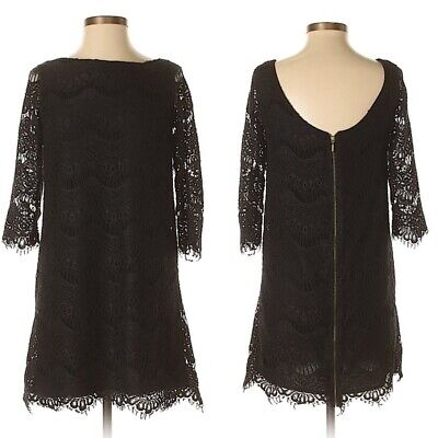 7c77ae8f Zara TRF Collection Black Lace Scoop Back Dress Size Small S 3/4 sleeves