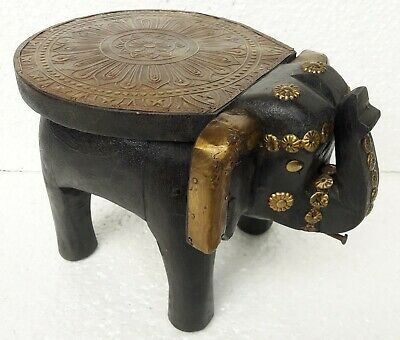 Wooden Elephant Stool Handcrafted Baby Stool Brass fitted Home Room Decor Art