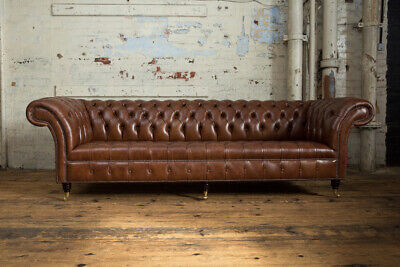 Handmade 4 Seater Mottled Brown Leather Chesterfield Sofa