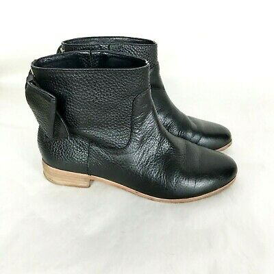 7a19c5347a8d KATE SPADE BRANDI Black Pebbled Leather Ankle Boots Buckle Bow sz ...