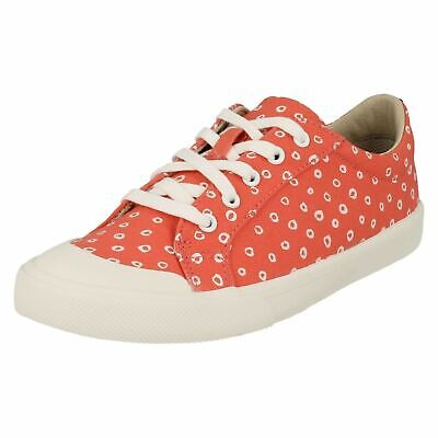 Girls Clarks Comic Days Kids Pumps Lace Up Trainers Canvas Summer Shoes Size