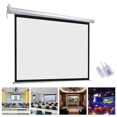 """100"""" Electric Projector Motorized Projection Screen Remote Control Cinema Theate"""