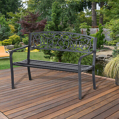 Outsunny Garden Bench Double Seat Park Steel Chair Garden Outdoor Metal Patio