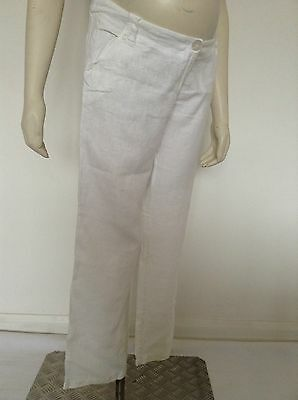 "[234] Veroniquedelachaux Maternity White Linen Trousers Size 8 (30"" leg)"
