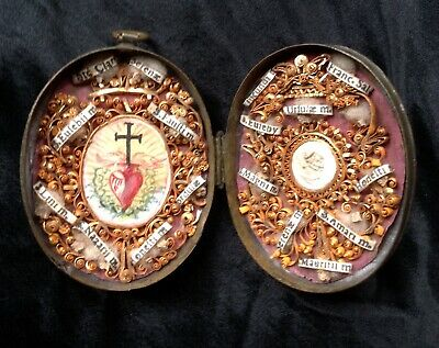 ANTIQUE SAINT MULTI RELIQUARY RELIC PAINTED SACRED HEART LOCKET MEMENTO MORi