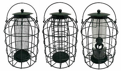 Squirrel Resistant Guard Nut / Seed / Fat Ball Bird Feeders with Protective Cage