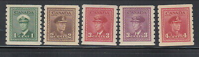 MNH Canada KGVI War Perf 8 Coil Set of 5 #263, 264, 265, 266, 267 (Lot #rn190)