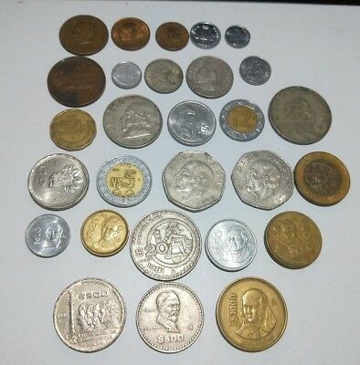 Mexico HUGE lot of 28 different coins Centavos up to 1,000 Pesos