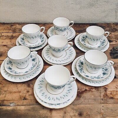 Set of 7 Vintage Style Blue White Mismatch Mix Match China Teacup Trio's JAN199