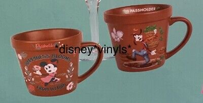 Disney Flower Garden EPCOT Passholder Minnie & Goofy Flower Pot Mug Set PRESALE