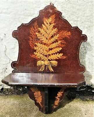 NO RESERVE c1890 Victorian Fernware Wall Mounted Folding Shelf Vintage Antique