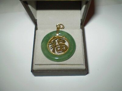 An Beautiful Vintage 9.ct Gold And Imperial Green Colour Jade Pendant.