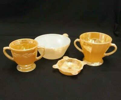 Lot Of 4 Pieces Of Anchor Hocking Glass Peach Luster Fire King Sugar Bowl Tray
