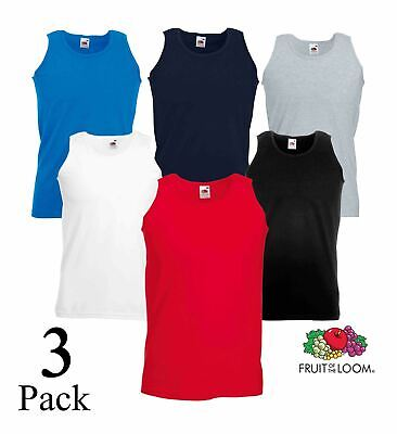 3 Pack Mens Fruit of the Loom Plain Athletic Vests Tank Gym Training T Shirts