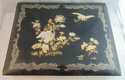 Antique Meiji Japanese Shibayama Black Lacquer Photo Album  Hand Painted Leaves
