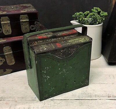 Small Shabby Antique Book Set Biscuit Tin Box, Huntley & Palmers Stories, c 1910