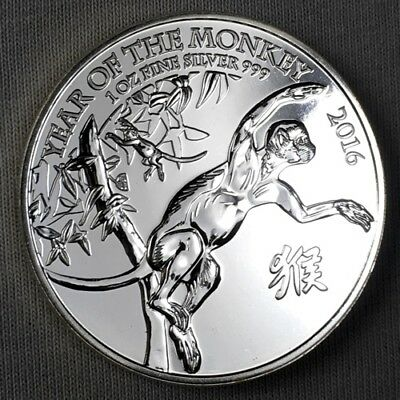 2016 UK Great Britain - Lunar Year of the Monkey  - 1 Oz Silver